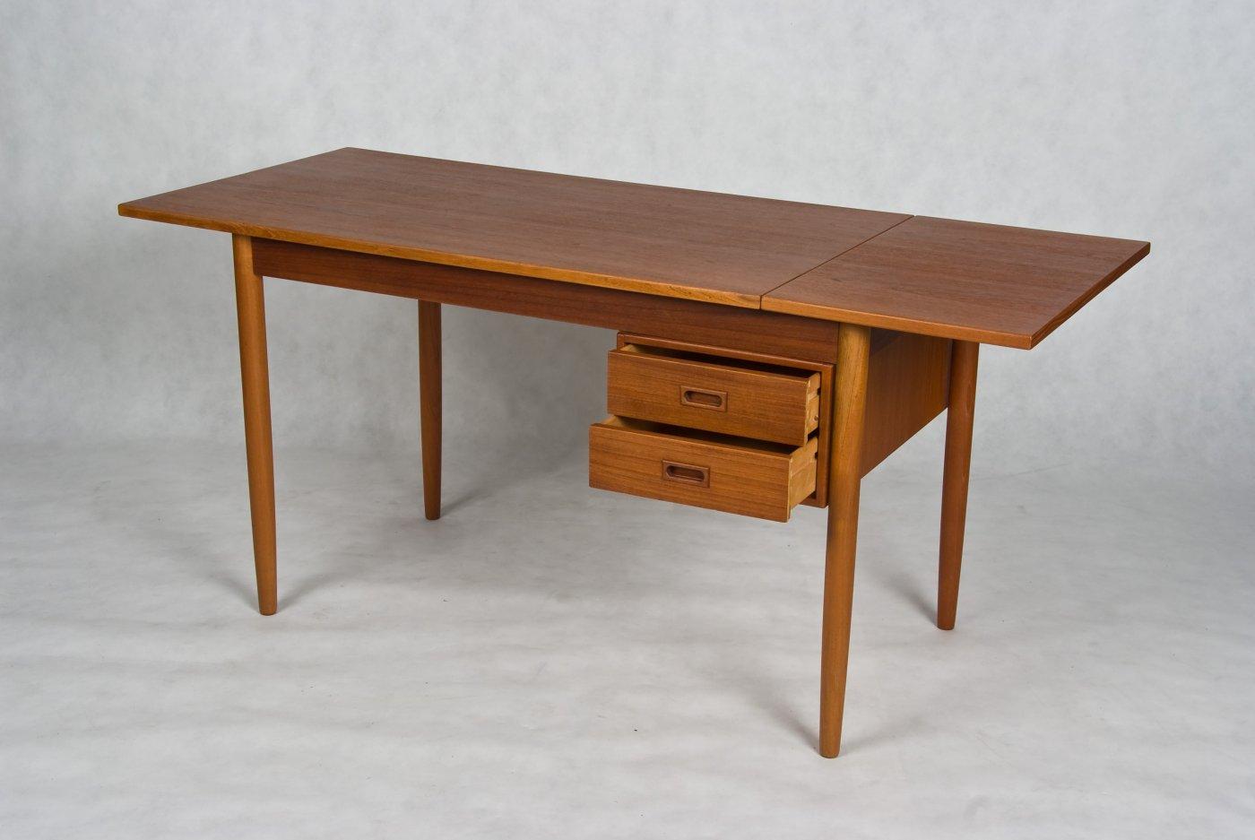 Small Danish Vintage Desk Teak And Oak