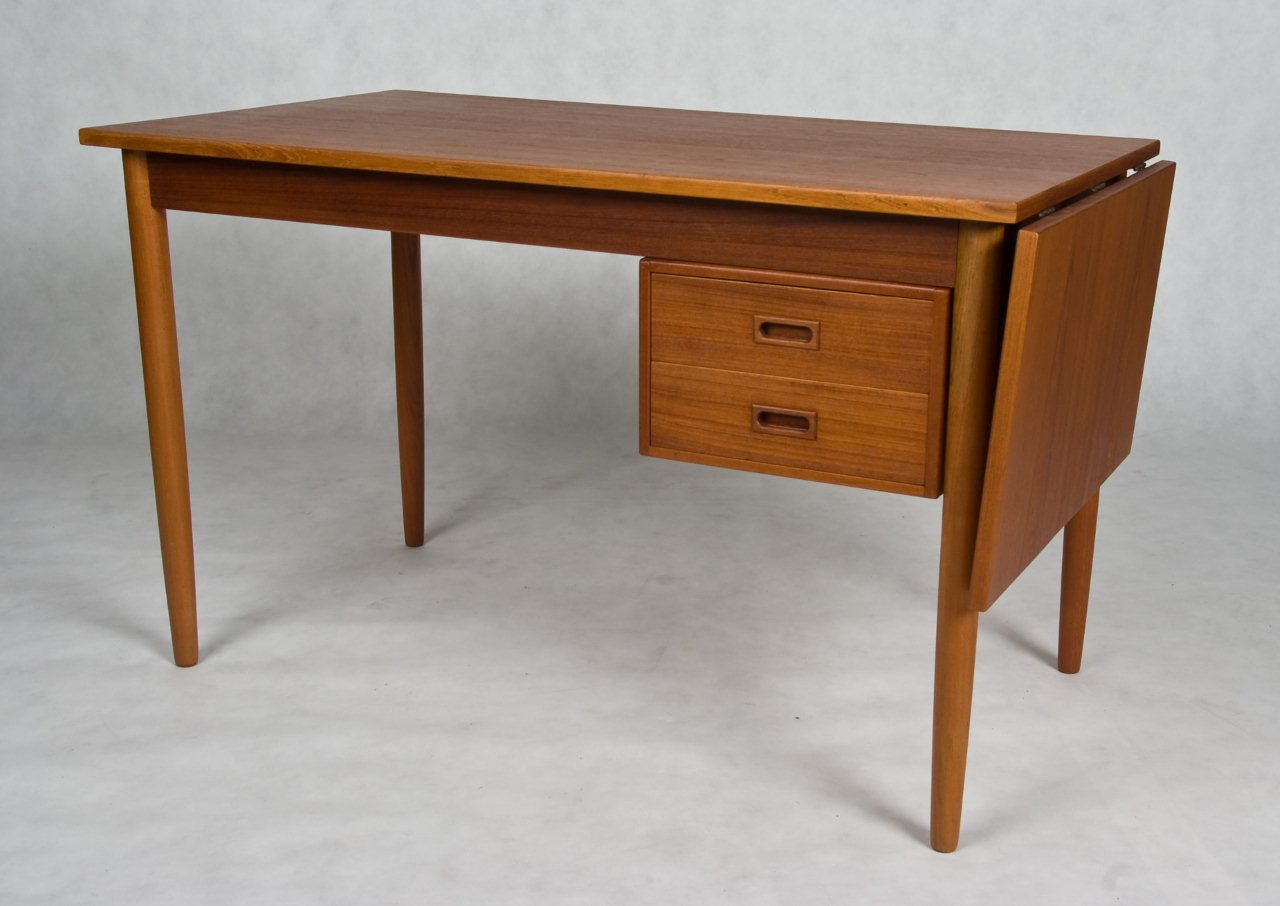Small Danish vintage desk, teak and oak